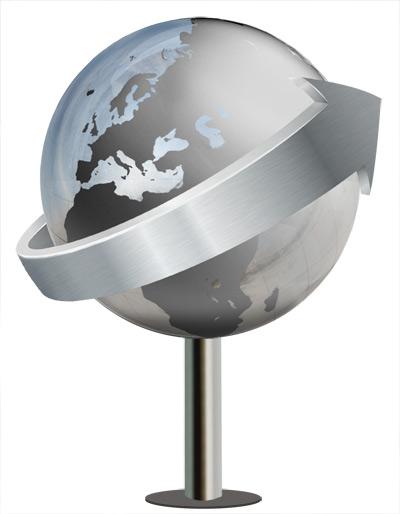 weltkugel und globus aus metall bis 15 m durchmesser in monumentalen gr en. Black Bedroom Furniture Sets. Home Design Ideas